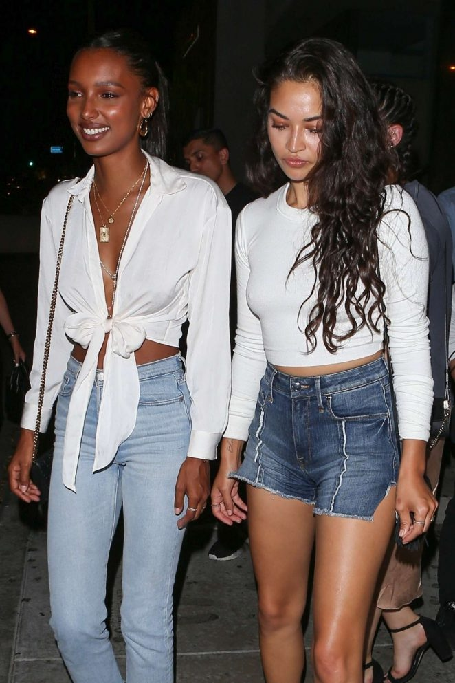 Jasmine Tookes and Shanina Shaik at Catch in West Hollywood