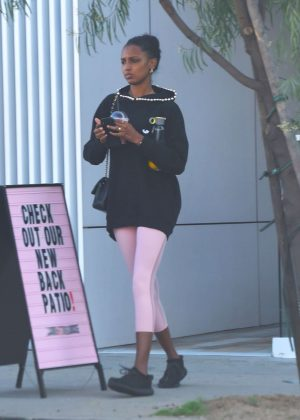 Jasmine Tookes at pilates in Los Angeles