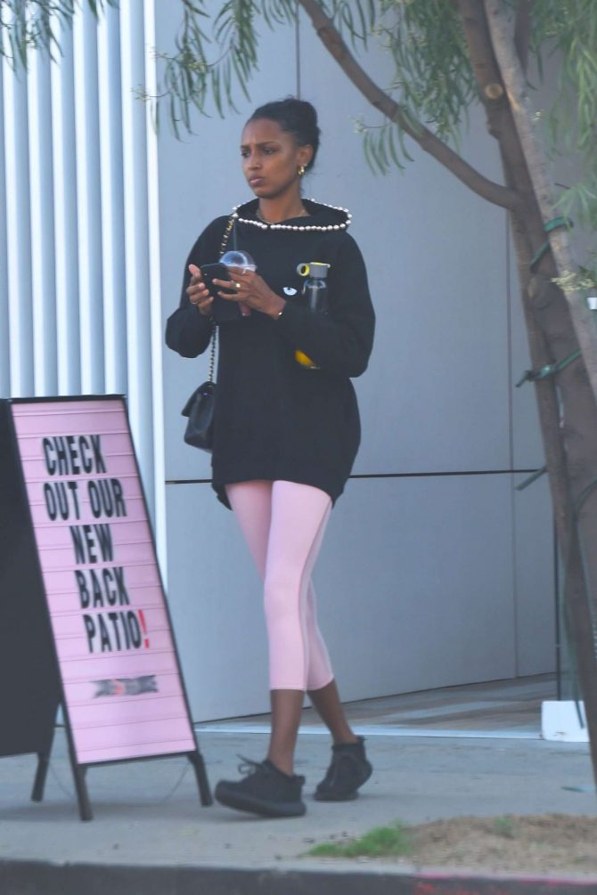 Jasmine Tookes at pilates in Los Angeles