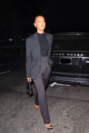 Jasmine Tookes - Dons business look at San Vicente Bungalows in West Hollywood