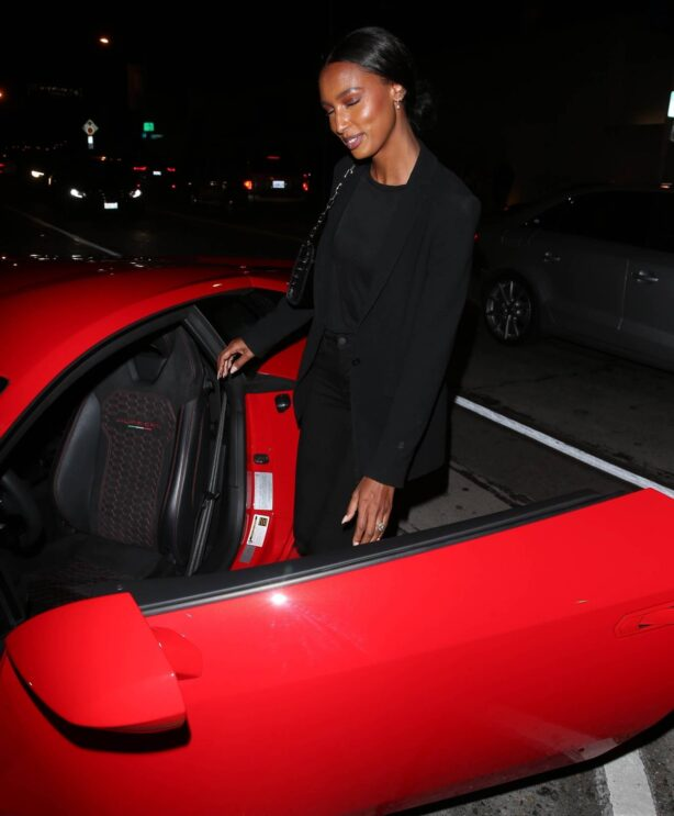 Jasmine Tookes - In her new Red Lamborghini at Craigs Restaurant in West Hollywood