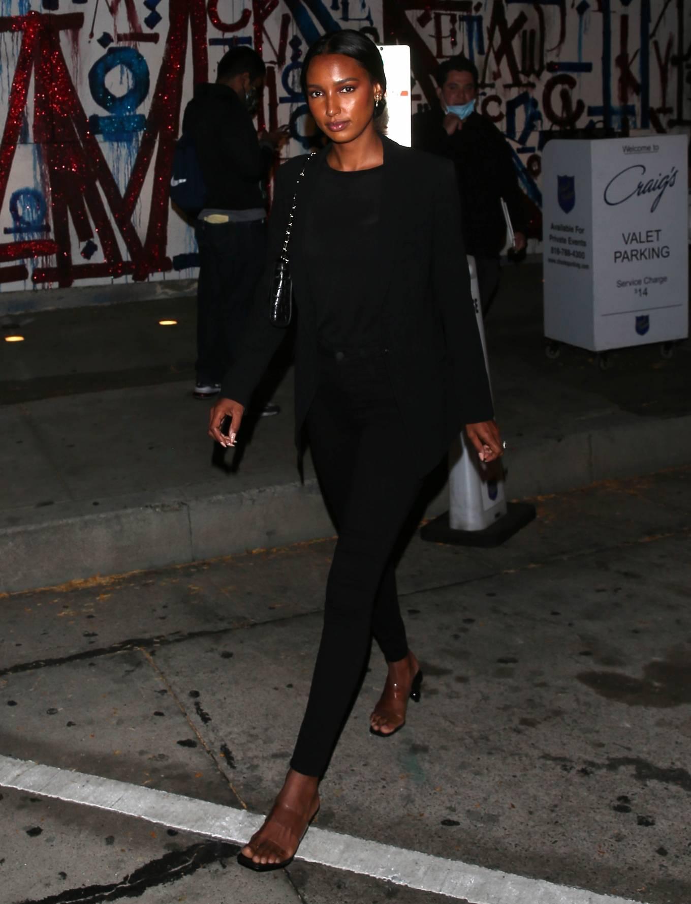 Jasmine Tookes 2021 : Jasmine Tookes – In her new Red Lamborghini at Craigs Restaurant in West Hollywood-06