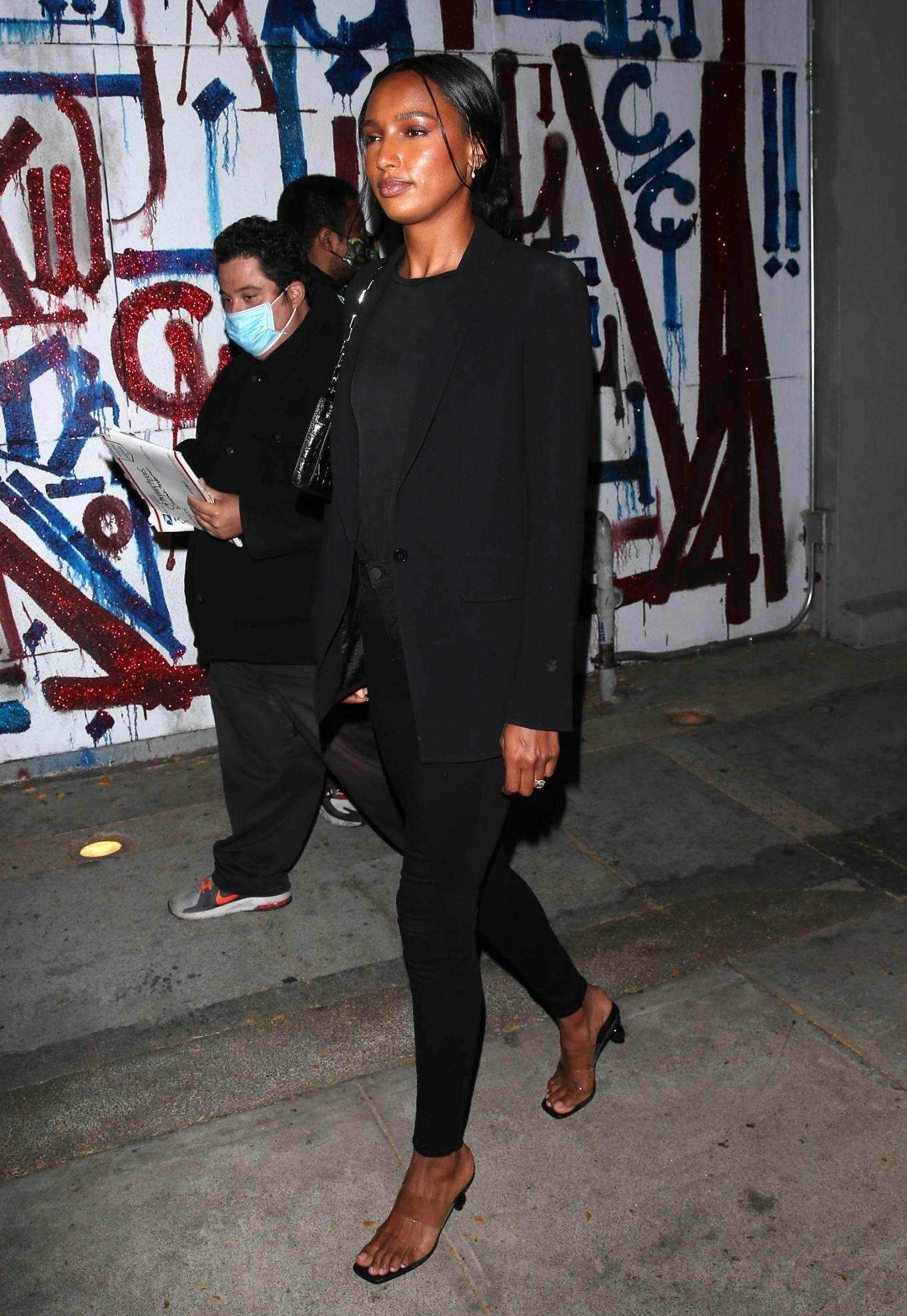 Jasmine Tookes 2021 : Jasmine Tookes – In her new Red Lamborghini at Craigs Restaurant in West Hollywood-12