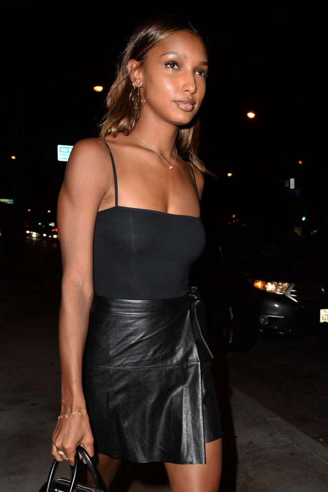 Jasmine Tookes in Leather Dress in West Hollywood