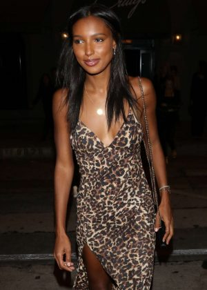 Jasmine Tookes in Leopard Print Dress at Craig's in West Hollywood