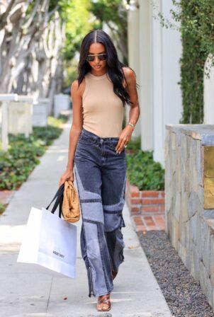 Jasmine Tookes - leaving Violet Gray dressed in PLT