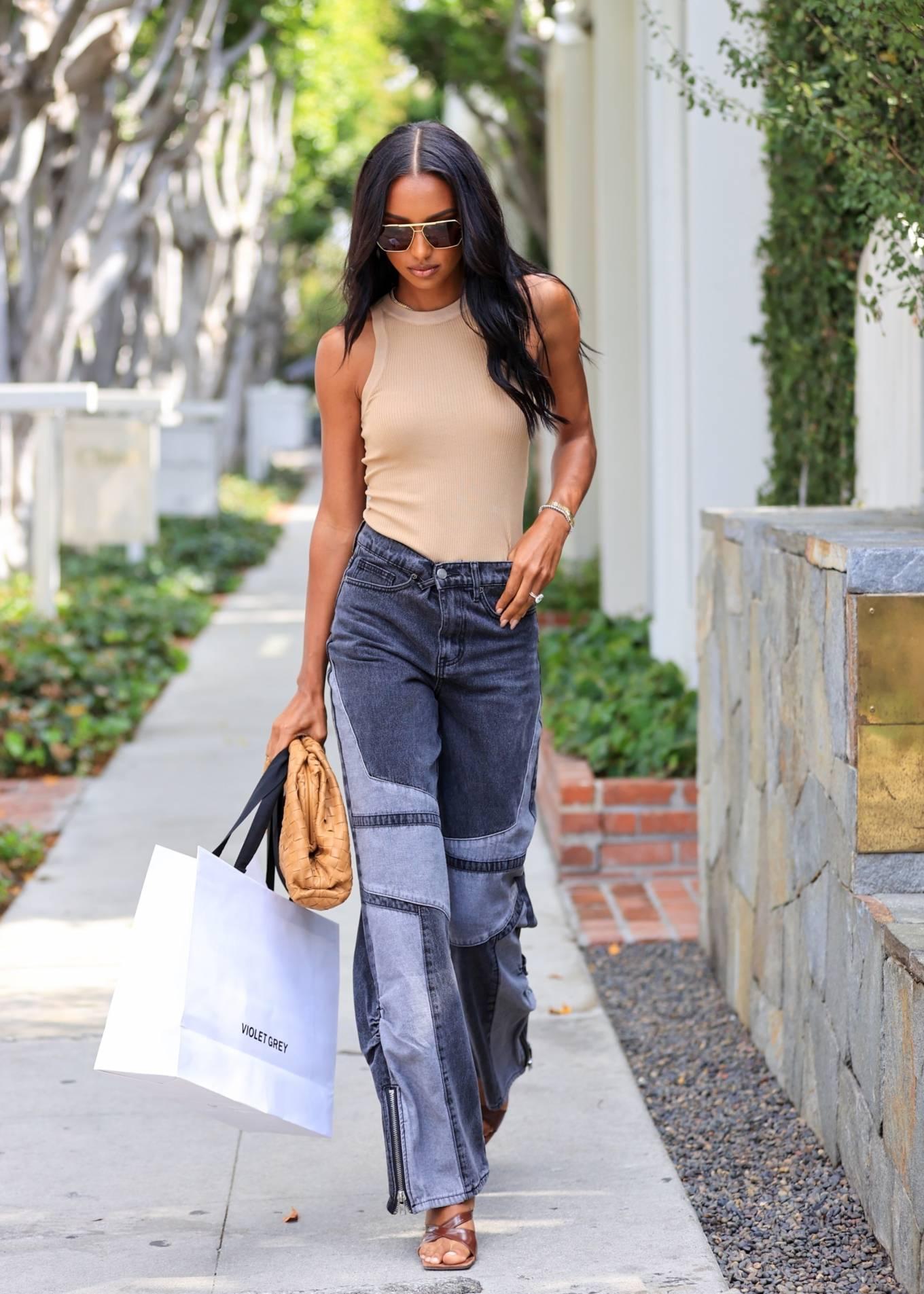 Jasmine Tookes 2021 : Jasmine Tookes – leaving Violet Gray dressed in PLT-02