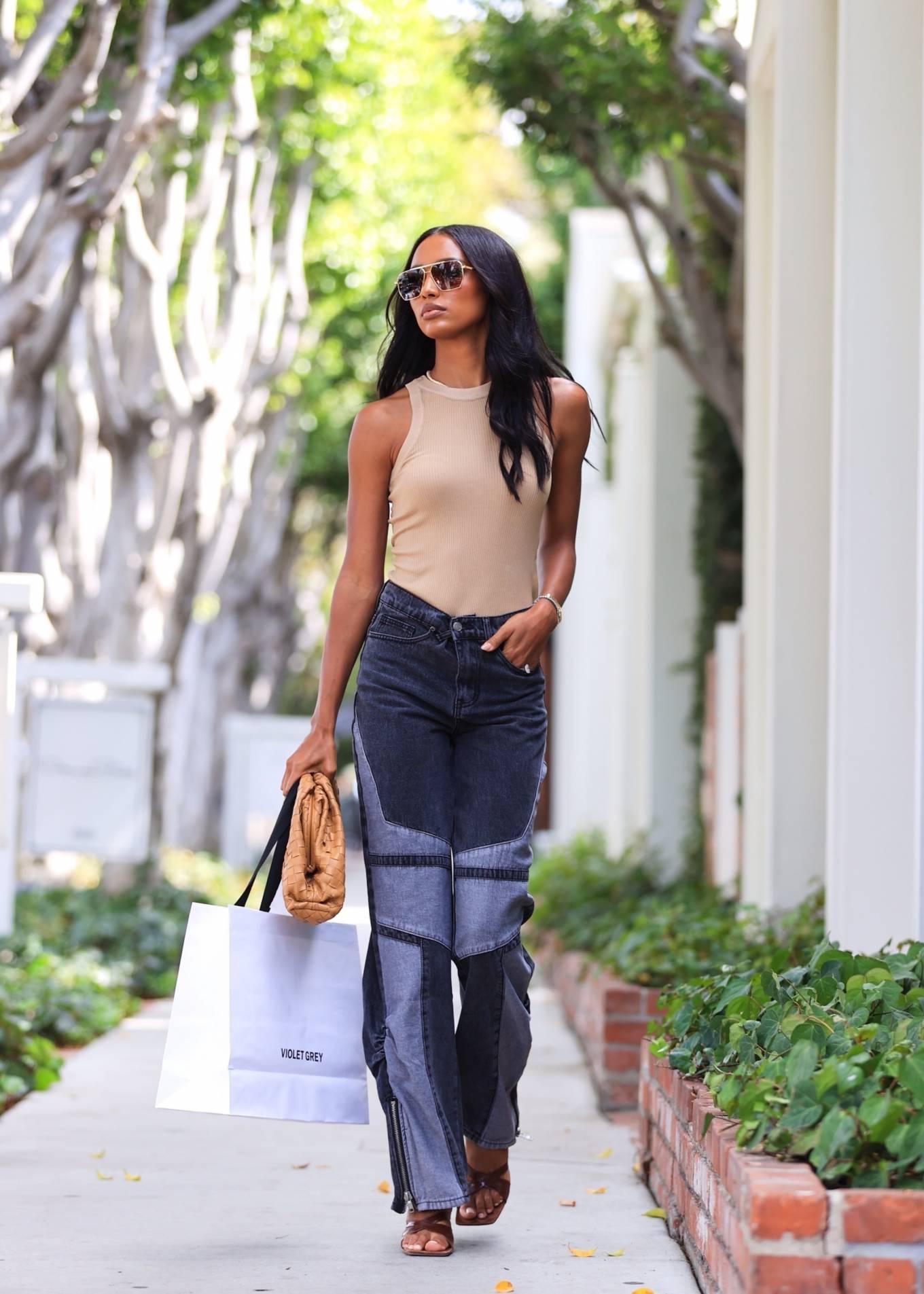 Jasmine Tookes 2021 : Jasmine Tookes – leaving Violet Gray dressed in PLT-09