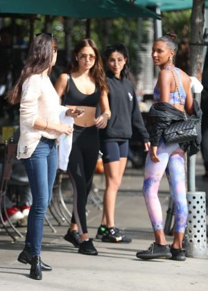 Jasmine Tookes, Sara Sampaio, Jocelyn Chew and Chantel Jeffries at Urth Caffe in West Hollywood