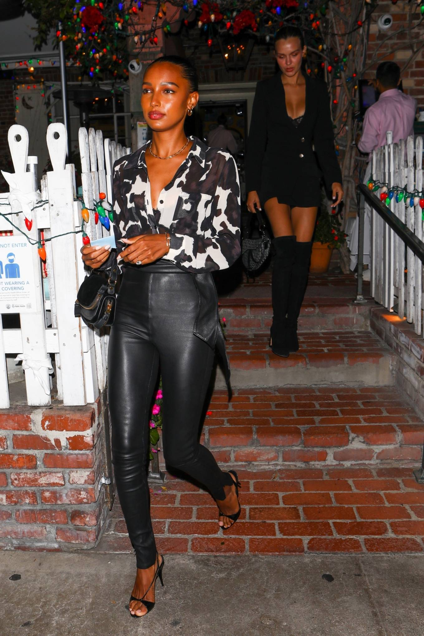 Jasmine Tookes 2021 : Jasmine Tookes – With Josephine Skriver and Sara Sampaio night out at the Ivy in West Hollywood-08