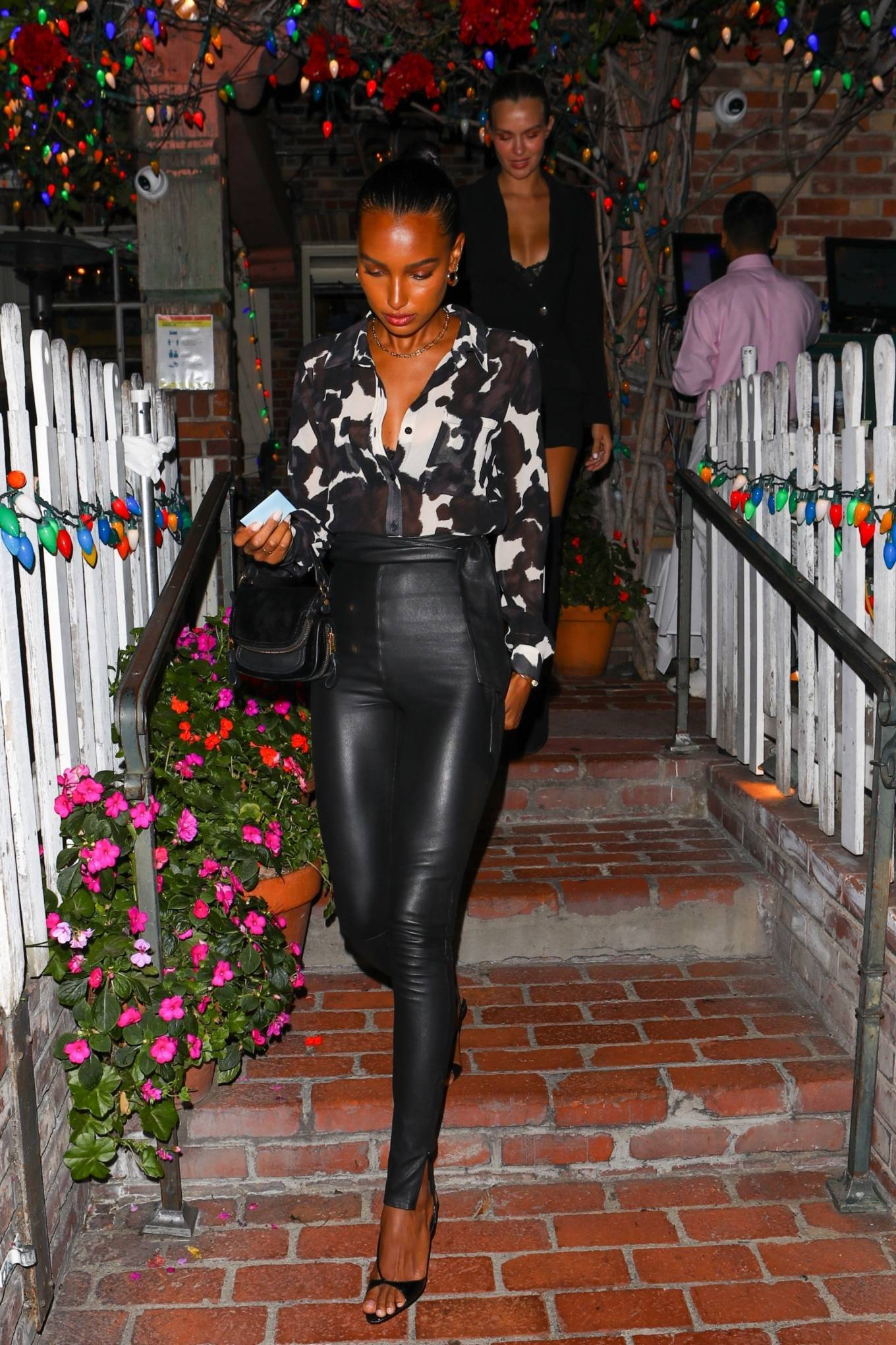 Jasmine Tookes 2021 : Jasmine Tookes – With Josephine Skriver and Sara Sampaio night out at the Ivy in West Hollywood-17