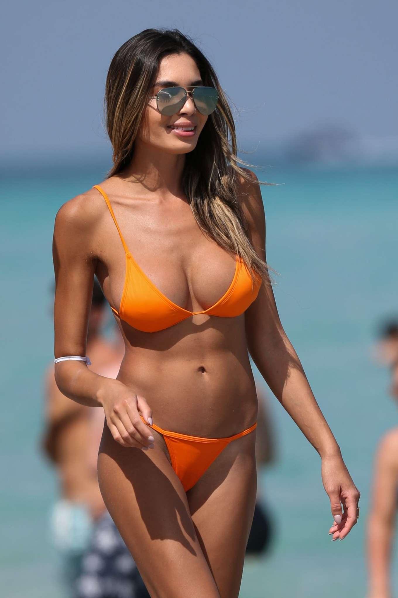 Beautiful woman wearing a bikini stock photo