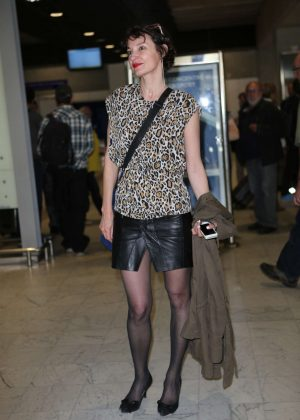 Jeanne Balibar Arriving at Airport in Nice