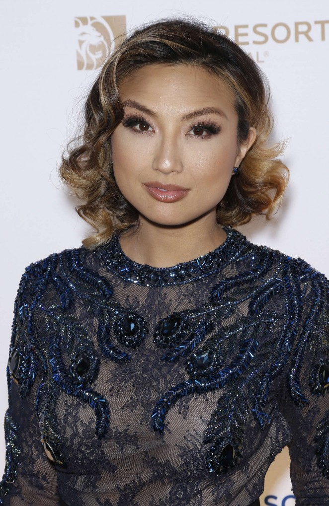Jeannie Mai - One Night for ONE DROP Blue Carpet in Las Vegas