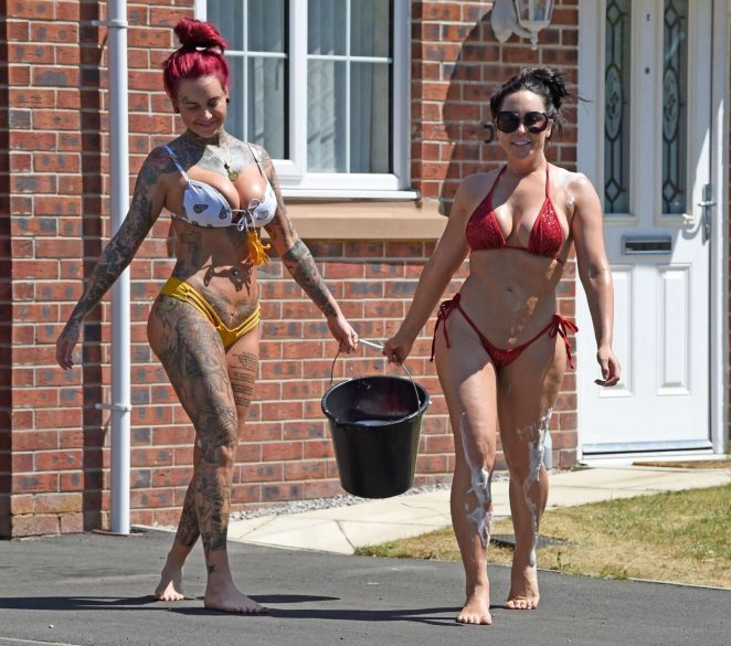 Jemma Lucy and Laura Alicia Summers in Bikini - Car Washing in Manchester