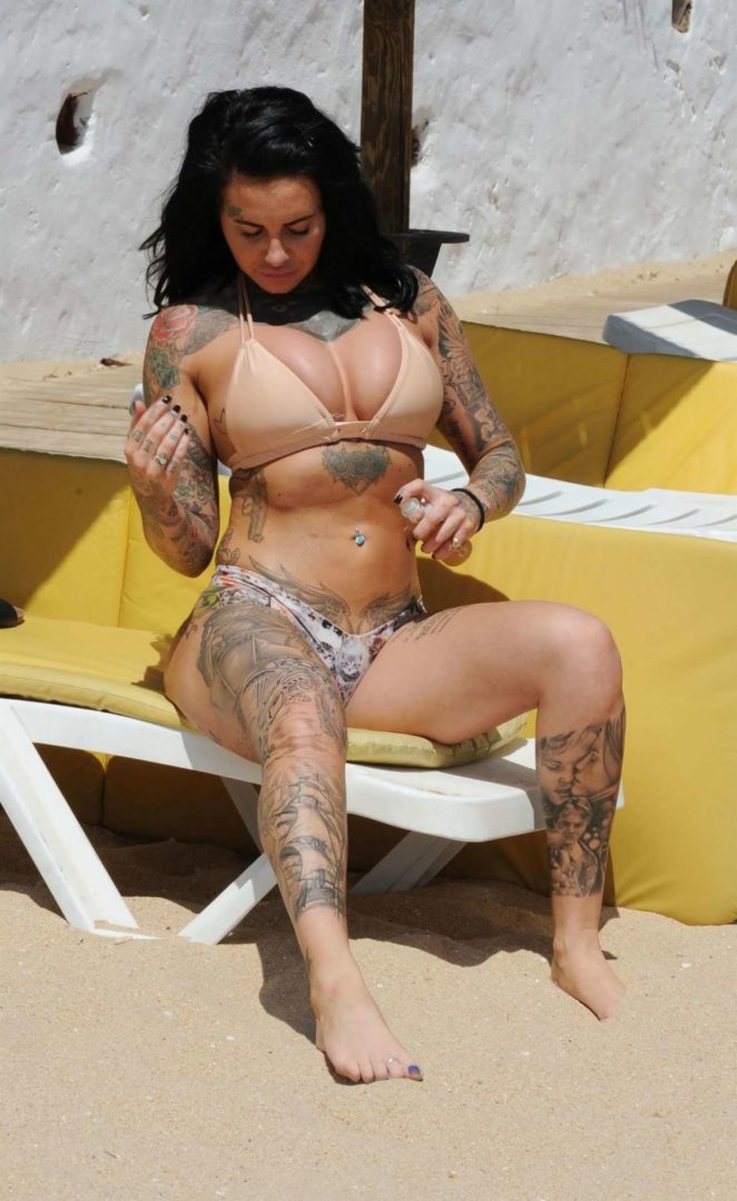 Jemma Lucy in Bikini on a Beach in Portugal