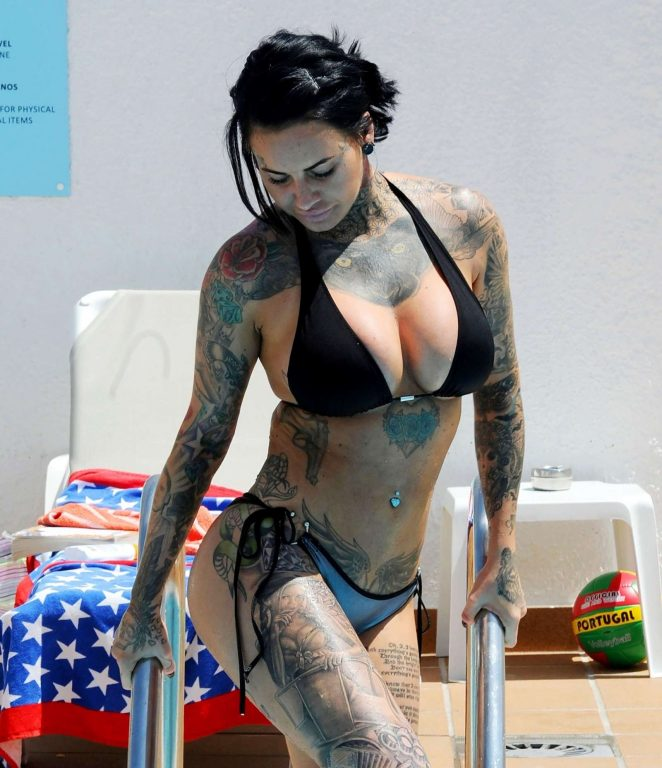Jemma Lucy in Bikini on the pool in Portugal