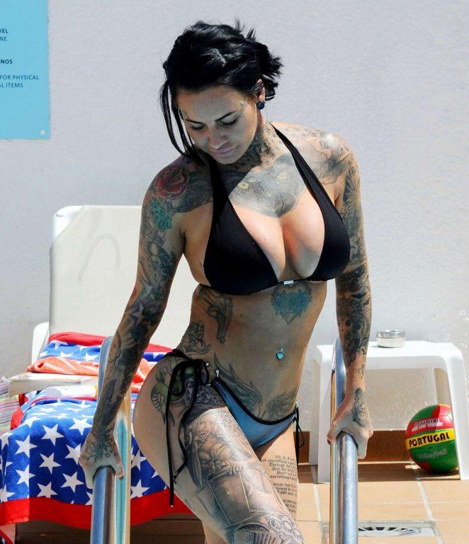 Jemma Lucy in Bikini on the pool in Portugal
