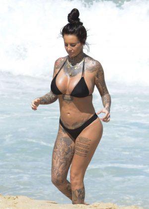 Jemma Lucy in Black Bikini on the beach in Sydney