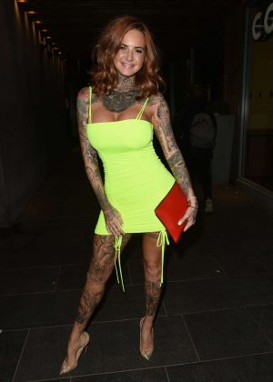 Jemma Lucy in Neon Mini Dress - Night out in Manchester