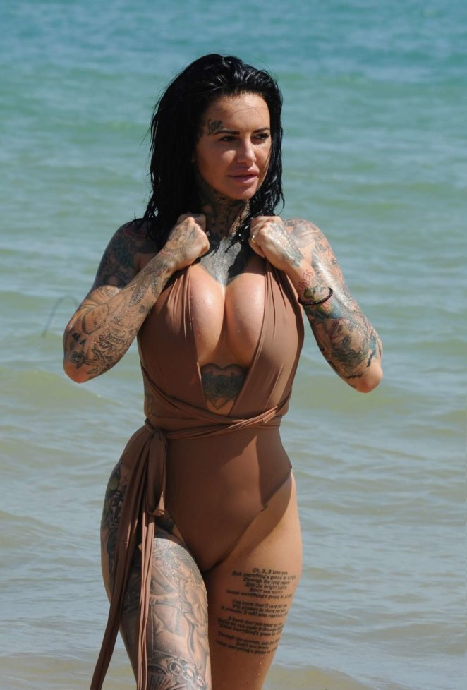 Jemma Lucy in Swimsuit on the beach in Lanzarote