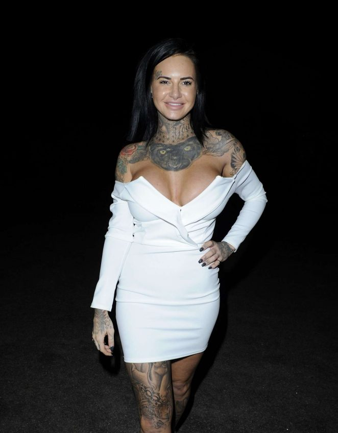 Jemma Lucy in Tight White Dress in Manchester