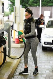 Jemma Lucy in Tights at a gas station in London