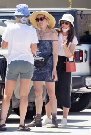 Jena Malone - In blue summer mini dres on vacations in Palm Springs