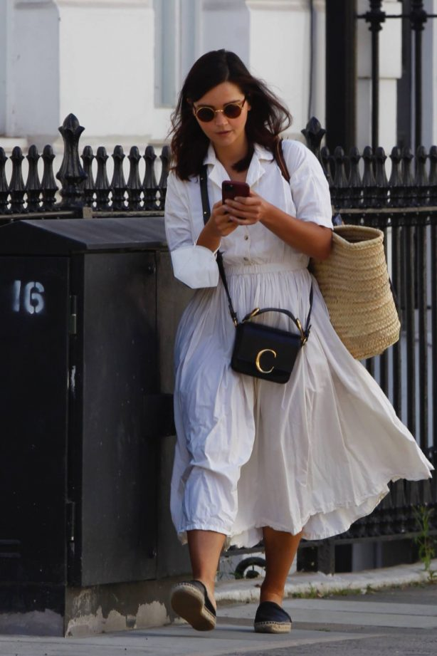Jenna Coleman in White Dress - Out in London