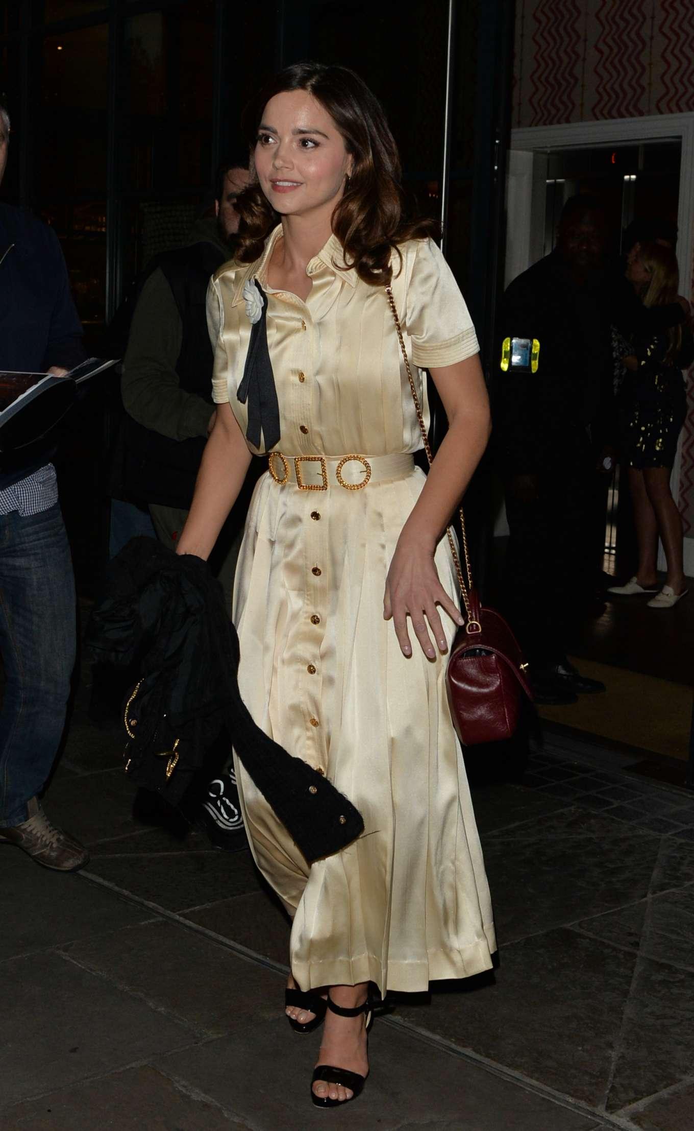 Jenna Coleman - Leaving Ham Yard Hotel in Soho in London