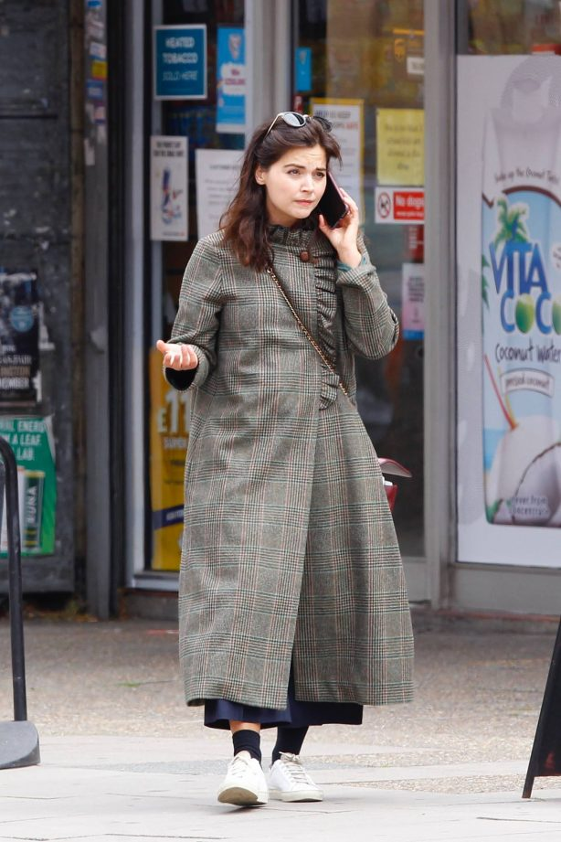 Jenna Coleman - Talking on her phone in London