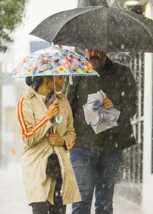 Jenna Dewan and Steve Kazee - Out on a rainy day in LA
