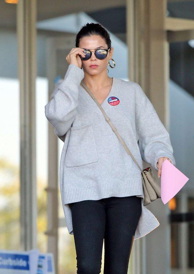 Jenna Dewan at polling station in Los Angeles