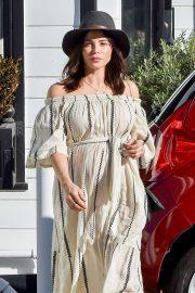 Jenna Dewan in Long Beige Dress - Out in Studio City