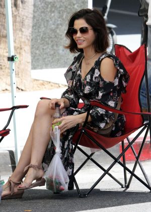 Jenna Dewan in Long Dress Farmer's Market in Los Angeles