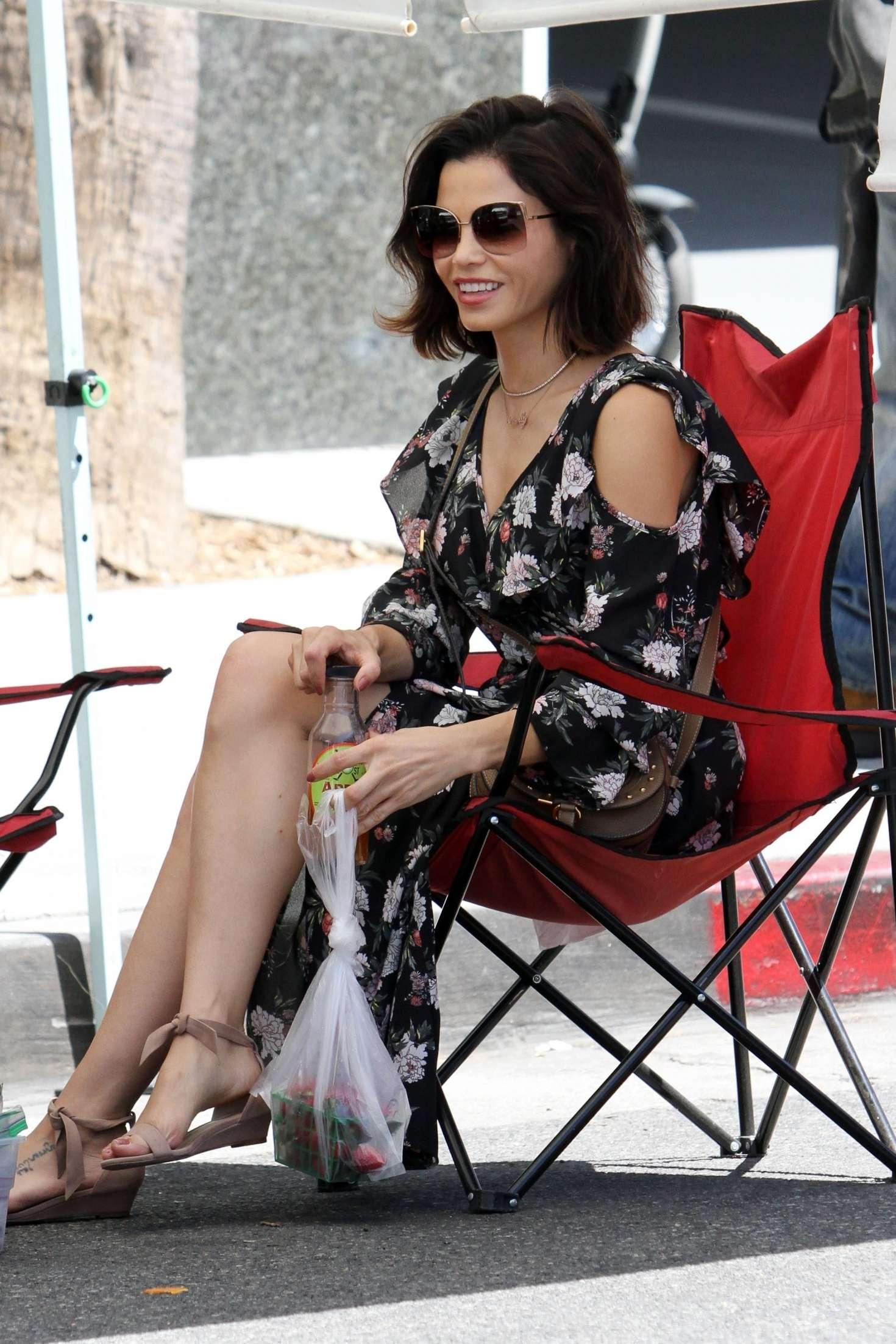 Jenna Dewan in Long Dress Farmer's Market in Los Angeles