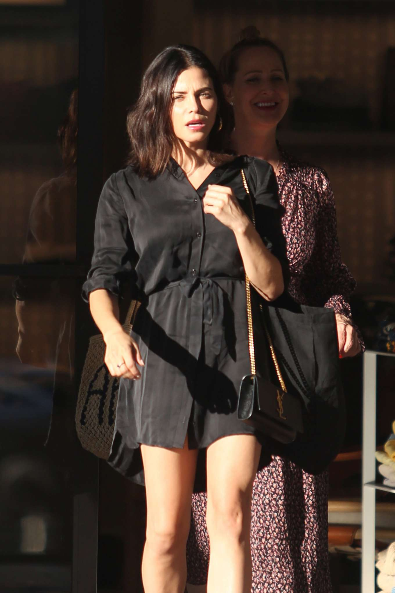Jenna Dewan in mini black dress heading to Sushi restaurant in LA