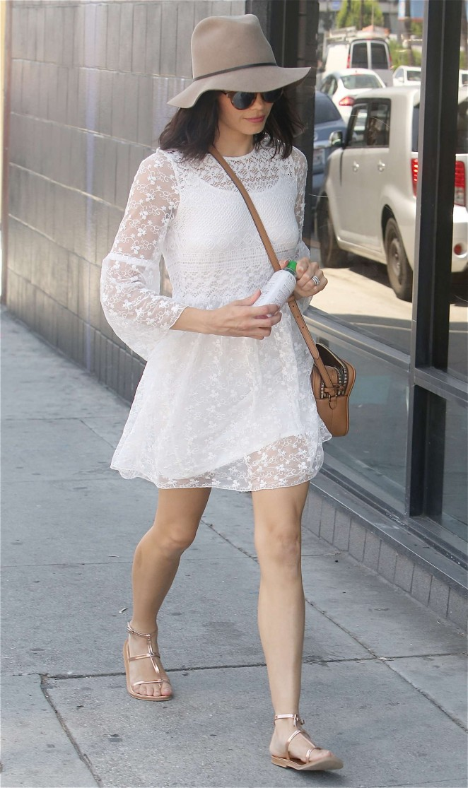 Jenna Dewan in White Mini Dress Out in Hollywood