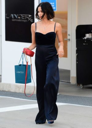 Jenna Dewan Tatum in a blue jumpsuit leaving Lancer Dermatology in Beverly Hills