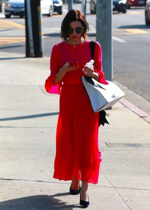 Jenna Dewan Tatum in Red Dress - Out in Beverly Hills