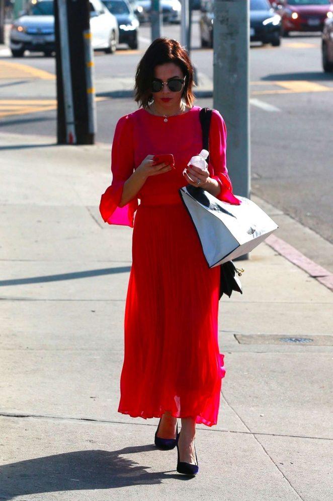 Jenna Dewan Tatum in Red Dress - Out in Beverly Hills