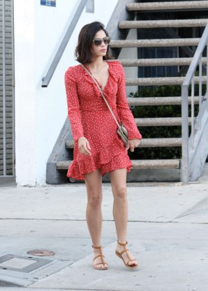 Jenna Dewan Tatum in Red Mini Dress Out in Los Angeles