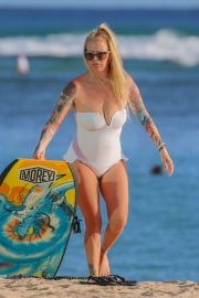 Jenna Jameson in White Swimsuit on the beach in Hawaiian