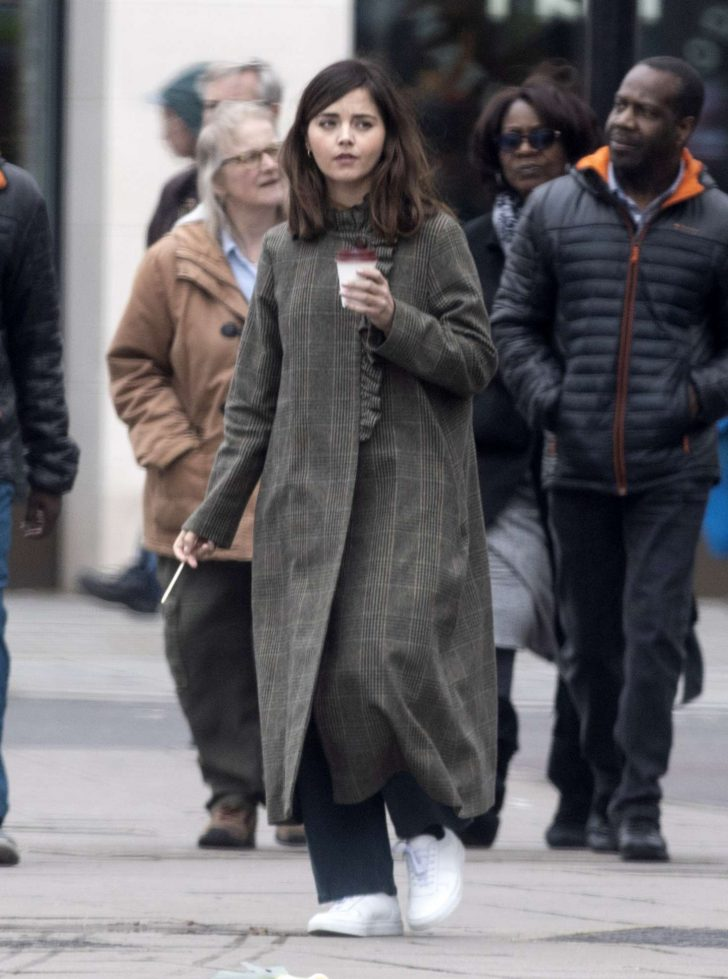 Jenna Louise Coleman in Long Coat - Out in London