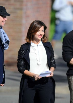 Jenna Louise Coleman - On the Set of 'Doctor Who' in Cardiff
