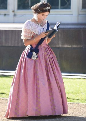 Jenna Louise Coleman - On the set of 'Queen Victoria' in Liverpool