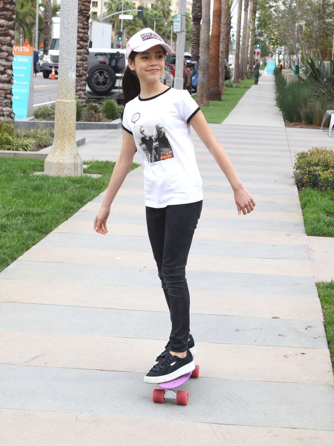 Jenna Ortega out on her skateboard in Los Angeles