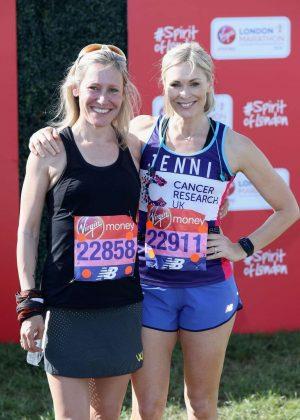 Jenni Falconer and Sophie Raworth at London Marathon