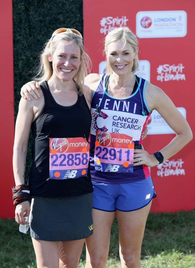 Jenni Falconer and Sophie Raworth at London Marathon