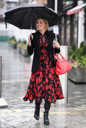 Jenni Falconer - In a black florall dress at Global Studios in Central London